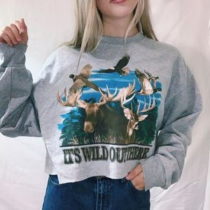 Vintage Style Wildlife Forest Cropped Crewneck